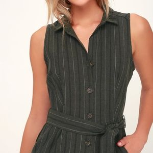 Lulu's Olive Green Striped Button-Up Jumpsuit